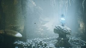 Ancient huge fantasy cave filled with ancient mushrooms and magical fog with dust.
