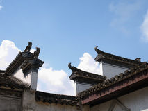 Ancient Huizhou architecture. Blue sky, Huizhou architecture roof, white clouds Royalty Free Stock Photos