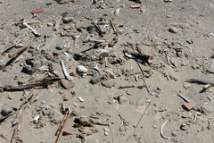 Ancient Human Bones in the Sand. A pile of human bones in Chauchilla, an ancient cemetery in the desert of Nazca, Peru. The remains of many people, some still stock photography