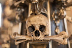 Ancient human skull and bone decoration in Sedlec, Czech republic. Kutna Hora Stock Photo