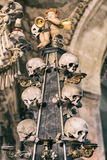 Ancient human skull and bone decoration in Sedlec, Czech republic. Kutna Hora.  royalty free stock image