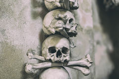 Ancient human skull and bone decoration in Sedlec, Czech republic. Kutna Hora.  royalty free stock photography