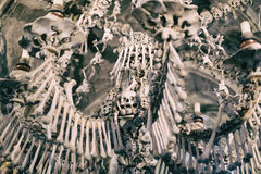 Ancient human skull and bone decoration in Sedlec, Czech republic. Kutna Hora.  stock images
