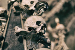 Ancient human skull and bone decoration in Sedlec, Czech republic. Kutna Hora Royalty Free Stock Photos