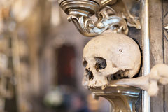 Ancient human skull and bone decoration in Sedlec, Czech republic. Kutna Hora Royalty Free Stock Photo
