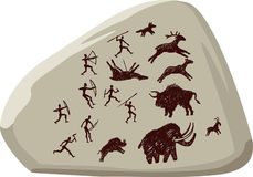 Ancient hunters. Ancient rock art,  eps Stock Photography