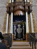 Ancient Hurvah synagogue. JERUSALEM - The ancient Hurvah synagogue in the Old City has been renovated with ornate furnishings such as this ark cover with the a stock photo