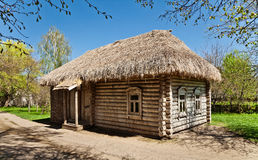 Ancient hut. Ancient Russian log hut and the trees Stock Photography