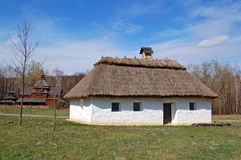 Ancient hut with a straw roof stock images