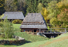 Ancient hut with watermill. Ancient traditional hut with watermill, Pirogovo, Kiev Stock Photos
