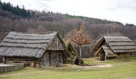 Ancient huts. Ancient wooden huts and houses in the woods Stock Photography