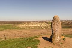 Ancient idol on the top of kurgan in the national-historical and archaeological reserve Stone Tomb , Ukraine Stock Photos