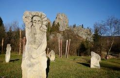 Ancient idols near ruins of Tustan - rock fortress,Ukraine Stock Photos