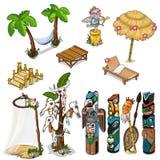 Ancient idols and tropical theme. Big vector set Royalty Free Stock Photo
