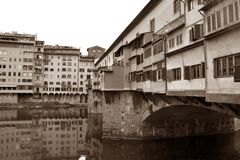 Ancient image of the Arno River and the Ponte Vecchio in Florenc. E Tuscany - Italy 004 Royalty Free Stock Photo