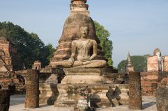 Ancient image buddha statue at Sukhothai Royalty Free Stock Photo