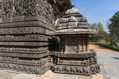 Ancient images on the walls. Carvings in Hoysaleshwara Hindu temple Royalty Free Stock Images