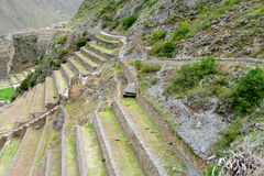 Ancient Inca archaeological site ruins Ollantaytambo near Cusco, Peru Royalty Free Stock Photos