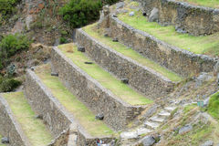 Ancient Inca archaeological terraces ruins Ollantaytambo near Cusco, Peru Royalty Free Stock Photo