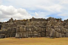 Ancient Inca fortress Saksaywaman, Cusco, Peru Royalty Free Stock Photography