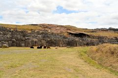 Ancient Inca fortress Saksaywaman, Cusco, Peru Royalty Free Stock Photography