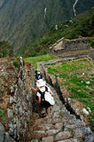 Ancient Inca Steps. With ruins in the background stock photography
