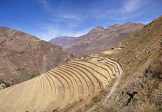 Ancient Inca terraced stonework Royalty Free Stock Image