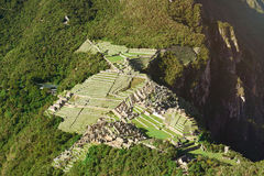 Ancient inca town. Machu Picchu top view. Famous Machu Picchu city royalty free stock image