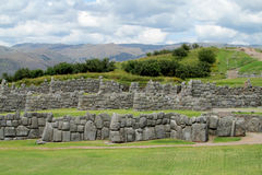 Ancient inca wall ruin in Peru. Citadel on the northern outskirts of the city of Cusco, Peru, the historic capital of the Inca Empire. dry stone walls Stock Photo