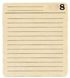 Ancient   index card paper  with lines and number 8 background Royalty Free Stock Image