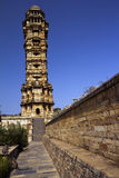 Ancient Indian architecture and monkeys Stock Images