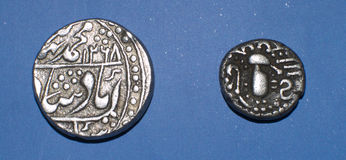 Ancient Indian Coins. Ancient Silver coins of India. First coin belongs of Sawai Jaipur State in the name of  Mughal Emperor Muhammed Bahadur Shah Zafar with Stock Photos
