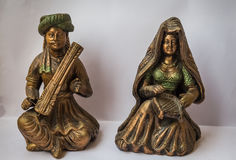 Ancient Indian handicraft of Rajasthani male female singers made in terracotta. Stock Photography