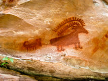 Ancient Indian Pictograph Stock Photos