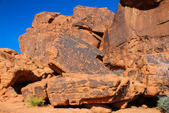 Ancient Indian Stone Drawings. From thousands of years ago at Valley of Fire in Nevada royalty free stock photo