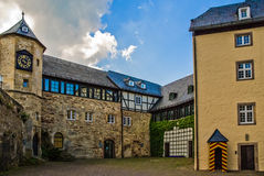 Ancient inner yard of old castle in Germany stock image