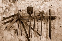Ancient instruments. Elba's Island: the ancient miner's tools used to extract iron from the soil Stock Images