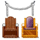 Ancient instruments of torture. Wooden chair with spikes and steel chains isolated on white background. Vector. Ancient instruments of torture. Wooden chair with Royalty Free Stock Photography
