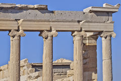 Ancient ionian order Greek temple detail Stock Photo