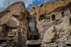 Ancient Iranian cave village in the rocks of Kandovan. The legacy of Persia. UNESCO stock photo