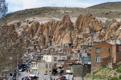Ancient Iranian cave village in the rocks of Kandovan. The legacy of Persia. UNESCO stock photos