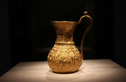Ancient Iranian golden ewer, pitcher, vase 10th century Royalty Free Stock Photos