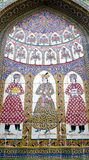 Ancient Iranian Tile Paintings of Three Ladies Stock Photos