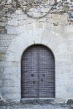 Ancient iron gates of a medieval castle stock image