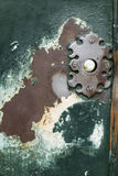 Ancient iron key hole on wood door. With cracked paint Stock Photo