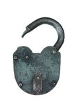 Ancient iron lock isolated on a white Royalty Free Stock Photo