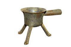 Ancient isolated alloy pot Royalty Free Stock Photo