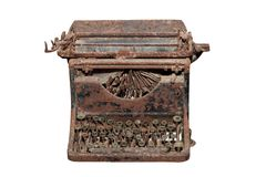 Ancient isolated rusty typewriter Stock Image