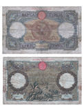 Ancient Italian Banknote Stock Photo
