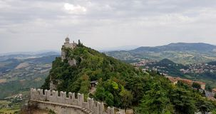 Ancient italian castle landscape with big towers. Amazing landscape with ancient castle with big towers in marche region, italy stock photography